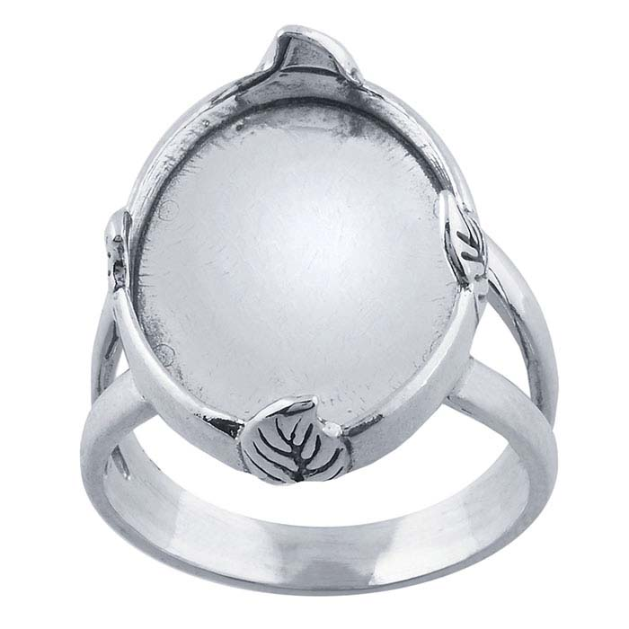 Sterling Silver Leaf Accent 18 x 13mm Oval Ring Mountings