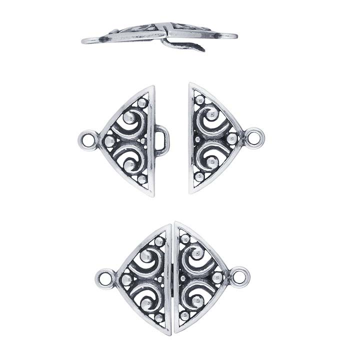 Sterling Silver Filigree Hook & Eye Clasp