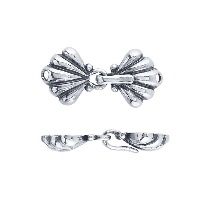 Sterling Silver Fluted Hook & Eye Clasp
