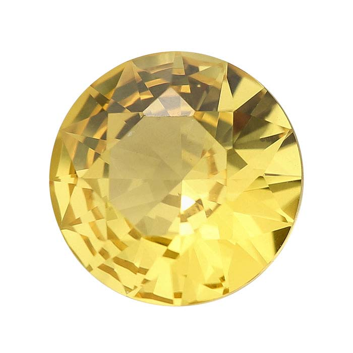 Simulated Golden Topaz Round Faceted Stones