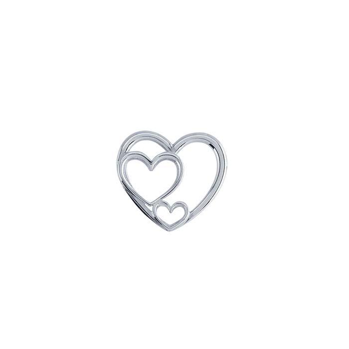 Sterling Silver Triple-Hearts Pendant