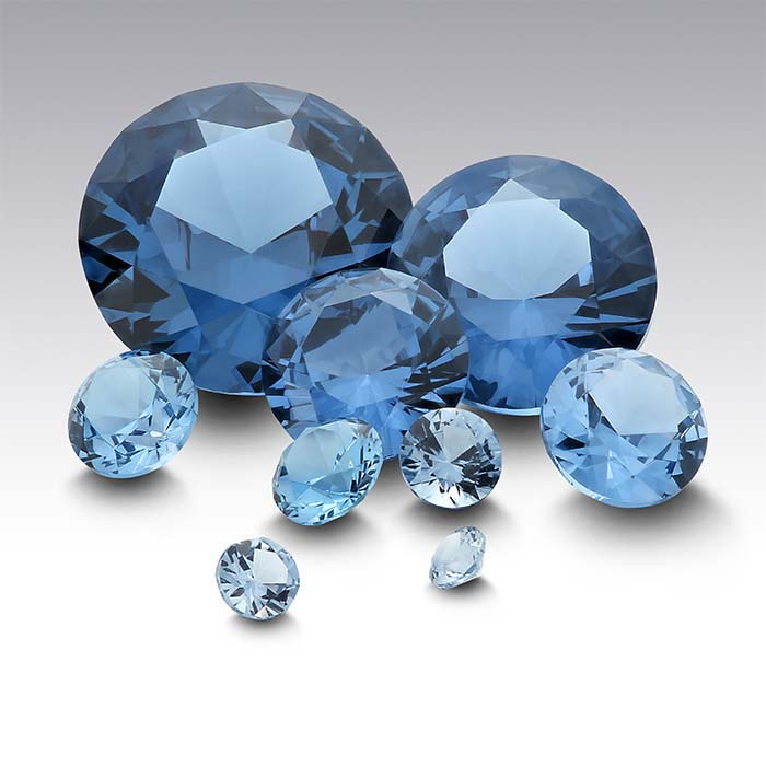Simulated Blue Zircon Round Faceted Stones