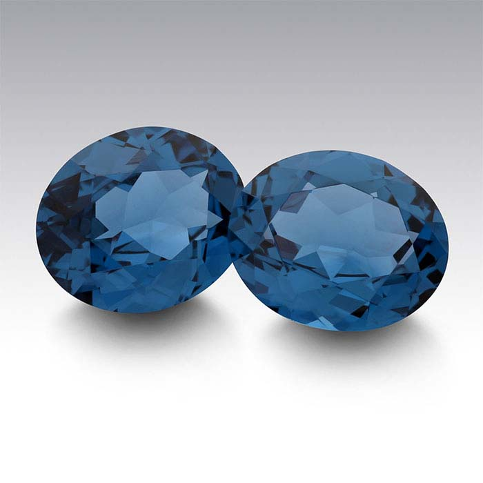 Simulated Blue Zircon Oval Faceted Stones