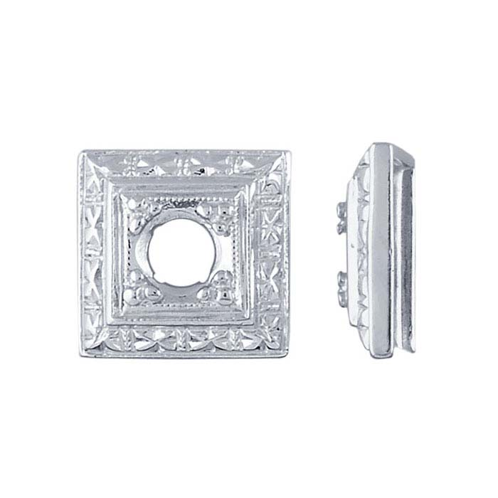 Argentium® Silver 4mm Round Square Illusion Setting