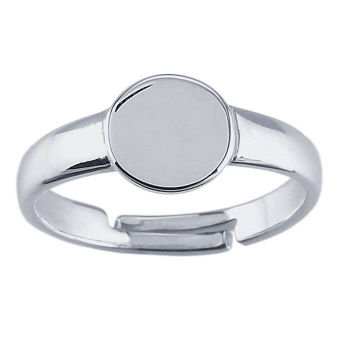 Sterling Silver Round Pad Ring Mountings, Adjustable
