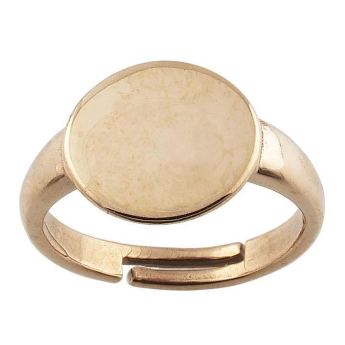 Bronze 12.5mm Round Pad Ring Mounting, Adjustable
