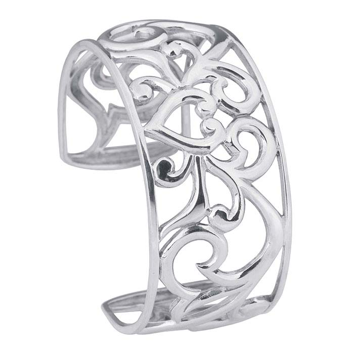 Sterling Silver Filigree Heart Cuff Bracelet