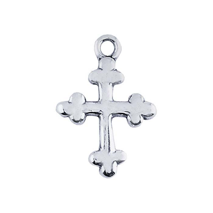 Sterling Silver Botonnee-Style Cross Pendant