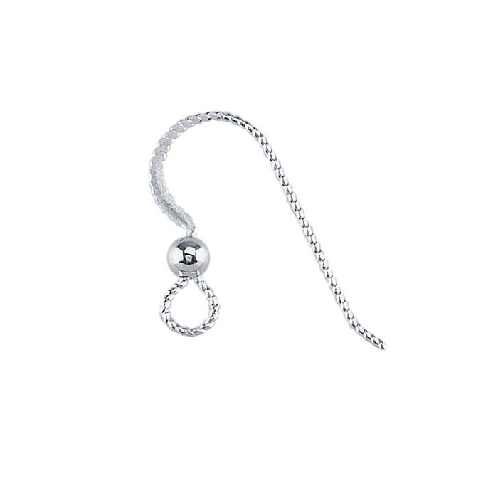 Sterling Silver Hammered SlipLess™ Ear Wire with Loop and Bead