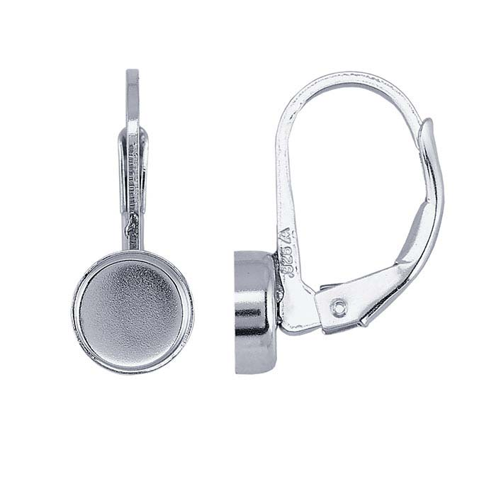 Sterling Silver Lever-Back Round Bezel Ear Wire Mountings