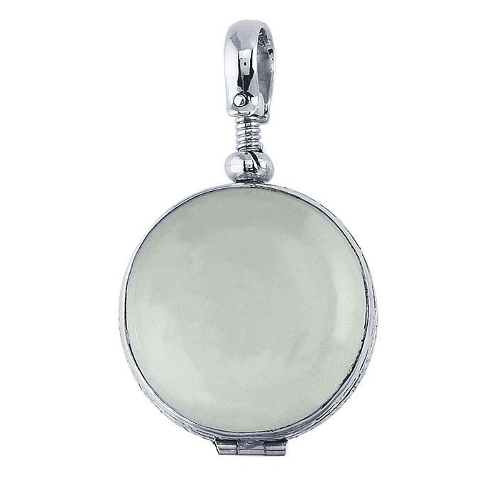 Silver round antique glass locket pendant sterling silver round antique glass locket pendant mozeypictures Choice Image