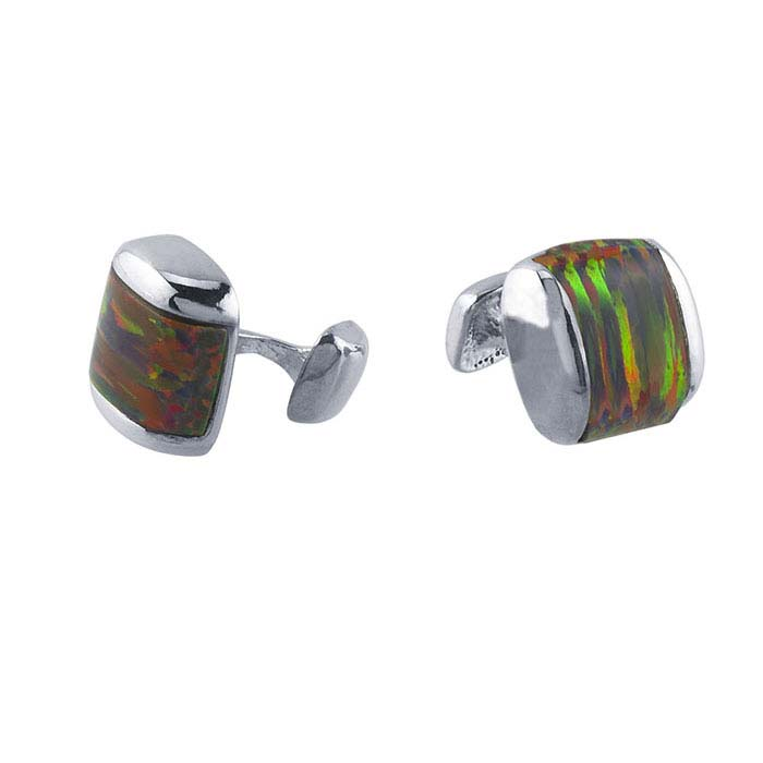 Sterling silver cuff links with simulated opal inlay