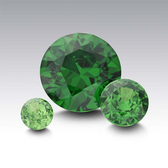 Emerald Green CZ 4mm Round Faceted Stone