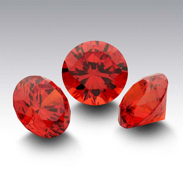 Orange CZ Round Faceted Stones