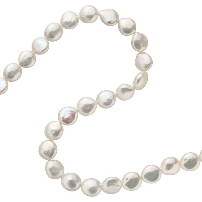Freshwater Cultured Coin Pearl Strands, White, A-Grade