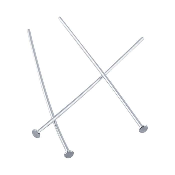"""Argentium® Silver 1-1/4"""" 1.9mm Flat Head Pin, 1/2-Hard"""
