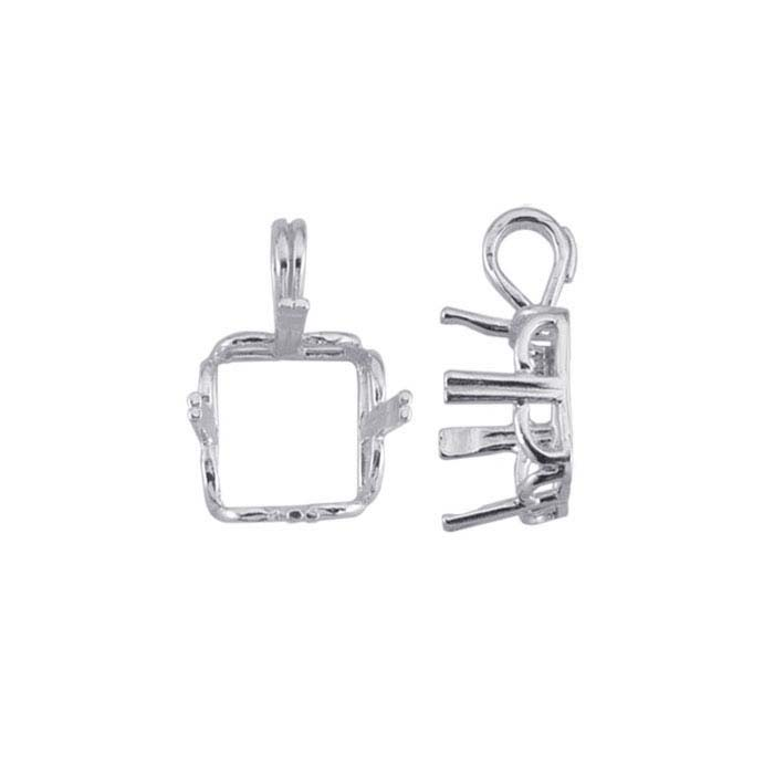 Sterling Silver 10mm Square Scalloped-Edge ReadySet™ Pendant Mounting, 4-Prong