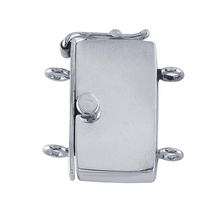 Sterling Silver Rectangle Box Clasp with Safety Catch, 2-Strand