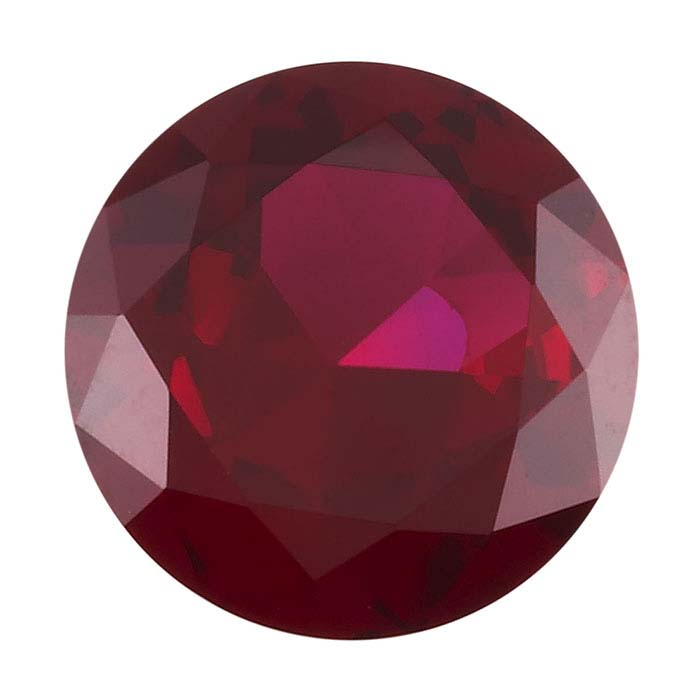 Simulated Garnet Round Faceted Stones