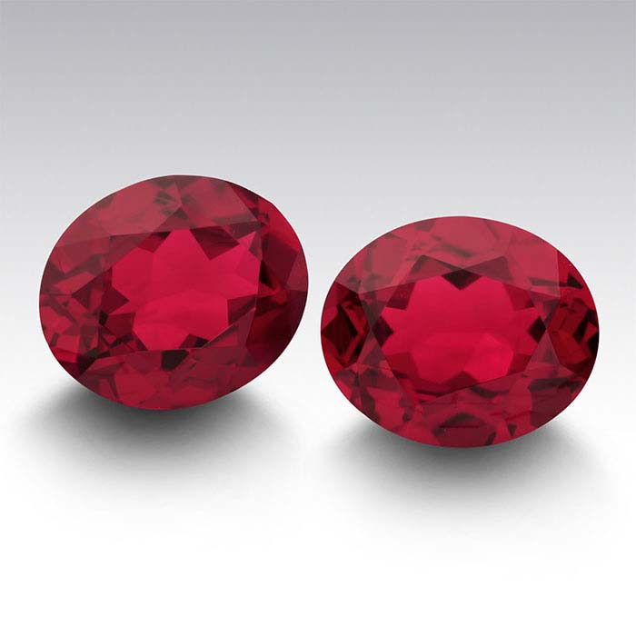 Simulated Garnet Oval Faceted Stones