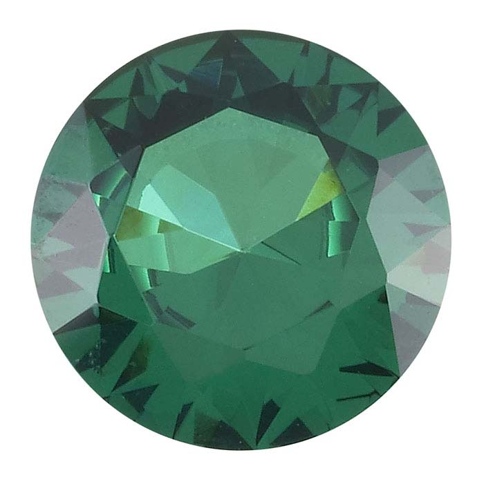 Simulated Emerald Round Faceted Stone