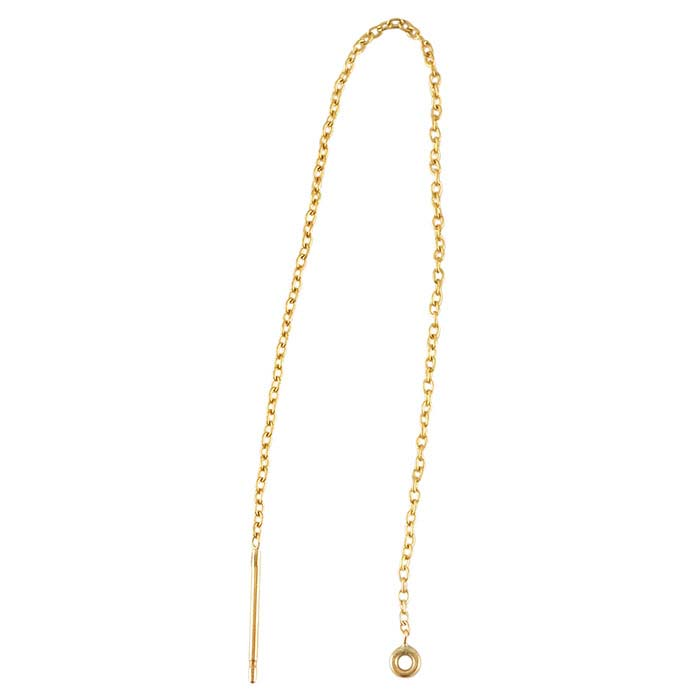 14/20 Yellow Gold-Filled Chain Ear Thread with Closed Ring