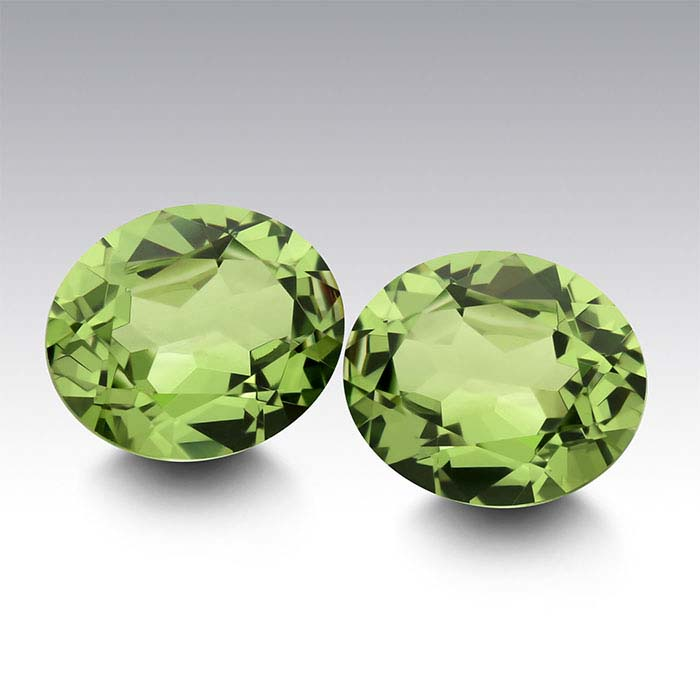 Simulated Peridot Oval Faceted Stones
