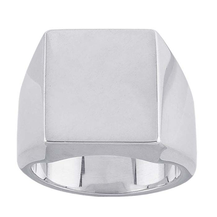 Sterling Silver 14 x 13mm Rectangle Signet Rings