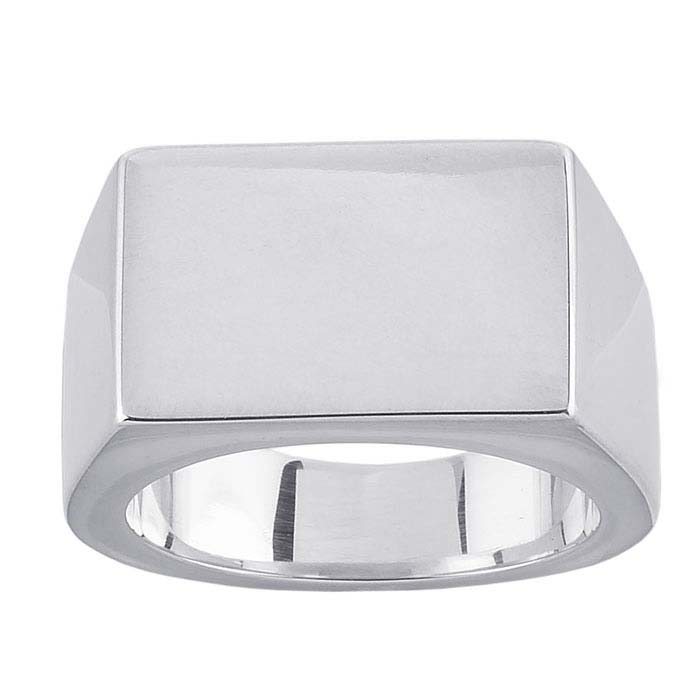 Sterling Silver 16 x 11mm Rectangle Signet Rings