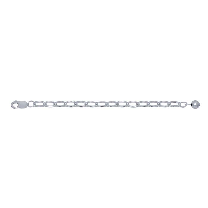Sterling Silver 3.7mm Bead-Accented Cable Chain Extender