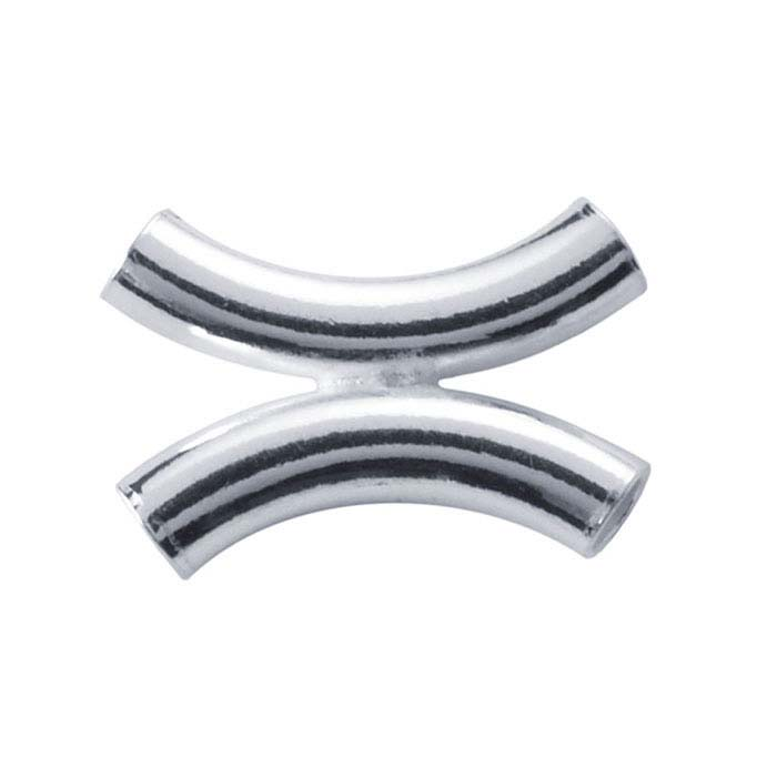 Sterling Silver 9.1mm Double-Tube Curved Designer Bead