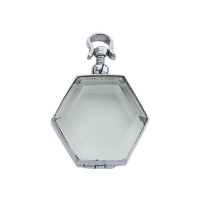 Sterling Silver Hexagon Antique Glass Locket Pendant