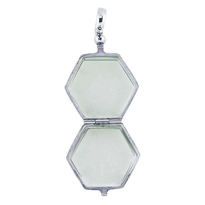 Sterling Silver Hexagon Antique Glass Locket Pendant