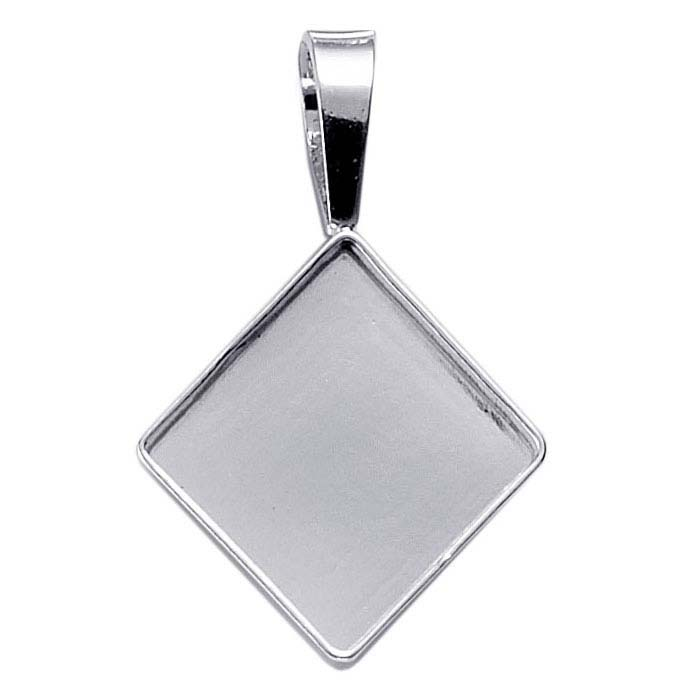 Sterling Silver 16mm Square Cabochon Pendant Mounting