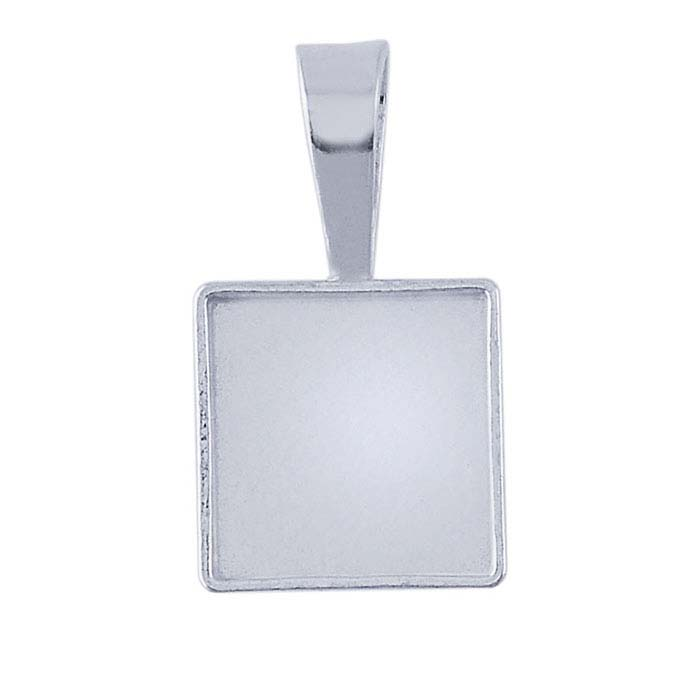 Sterling Silver Square Cabochon Pendant Mountings