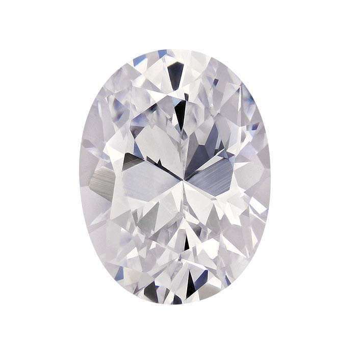 White CZ oval faceted stone