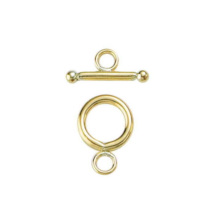 14/20 Yellow Gold-Filled Ball-End Toggle Clasps