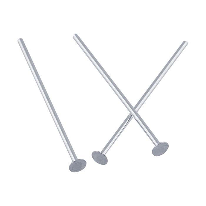 Sterling Silver 2.3mm Flat Head Pins, 1/2-Hard