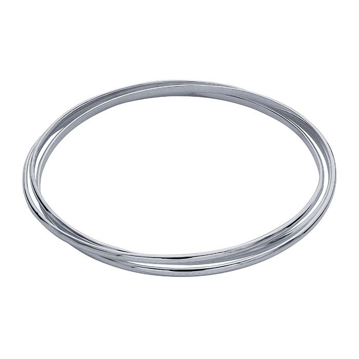 Sterling Silver Three-Ring Interlocking Bangle Bracelet