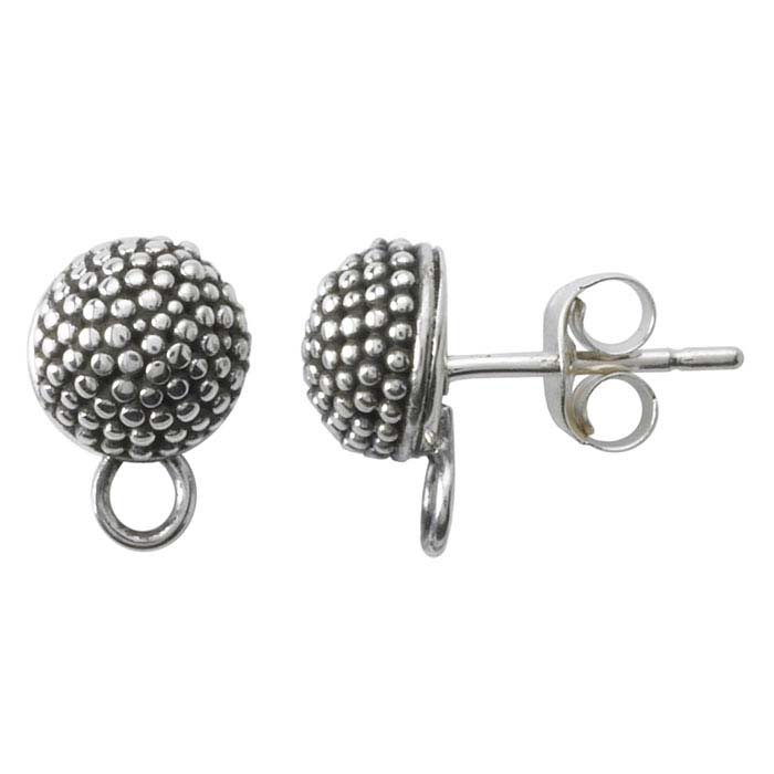 Sterling Silver Beaded Half-Ball Post Earring with Closed Ring