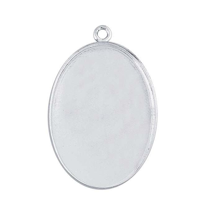 Sterling Silver 25 x 18mm Oval Bezel Component Mounting