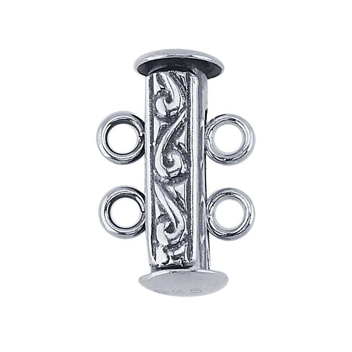Sterling Silver Engraved Tube Slide Clasp, 2-Strand