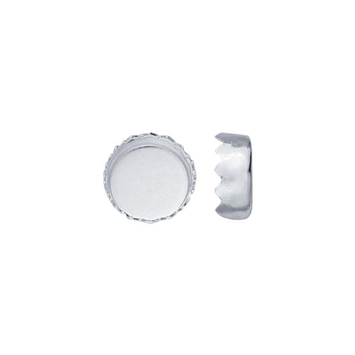 .999 Fine Silver 5mm Round Serrated-Edge Bezel Cup Setting