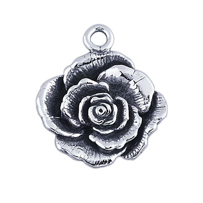 Sterling Silver Rose Blossom Charm
