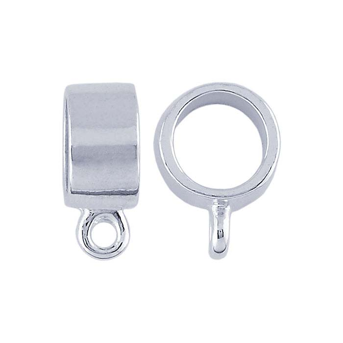 Sterling Silver Tube Pendant Bail with Ring