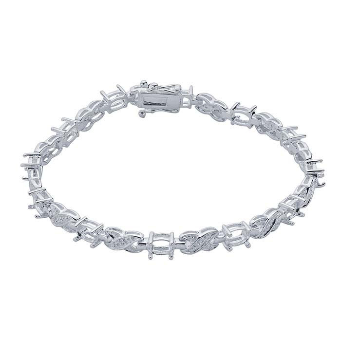 Sterling Silver 6 x 4mm Oval CZ-Set Link Bracelet Mounting