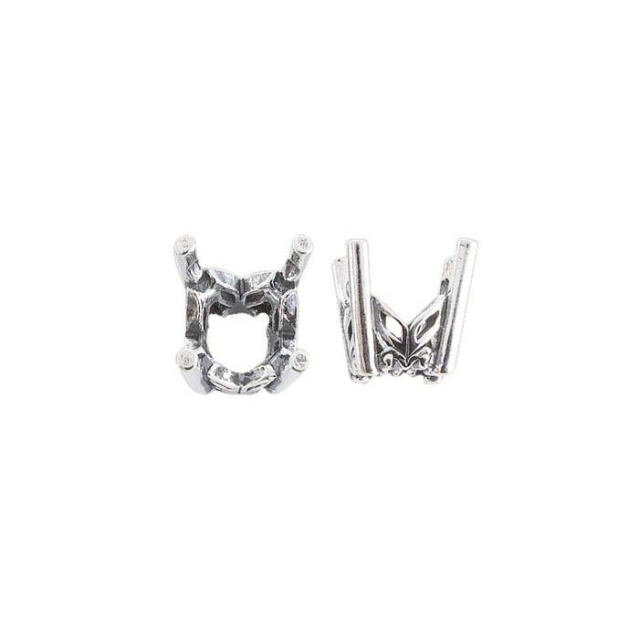 Sterling Silver  Round Pre-Notched Legendary™ Fancy 4-Prong Settings