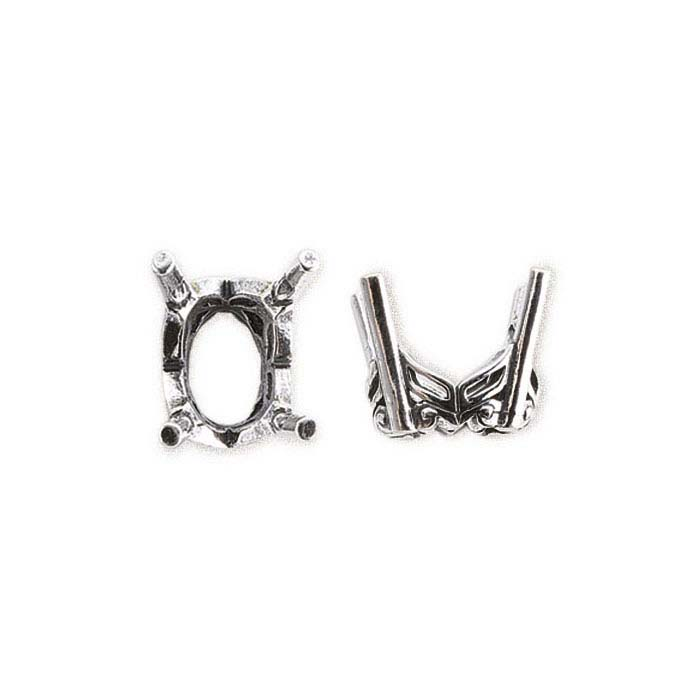 Sterling Silver Oval Pre-Notched Legendary™ Fancy 4-Prong Settings