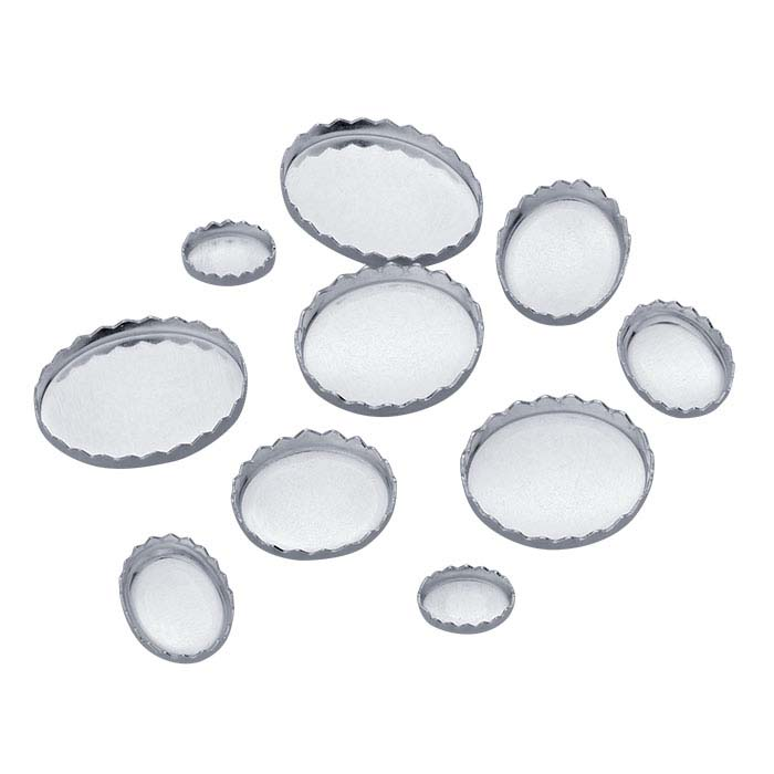 Sterling Silver Oval Serrated-Edge Bezel Cup Setting Assortment