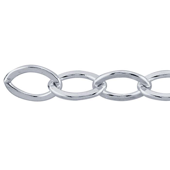 Sterling Silver 7.1mm Flat Oval Cable Chain, By the Foot